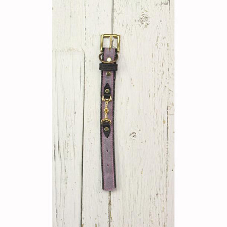 Purple Leather Dog Collar (Small Horsebit)