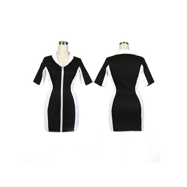 Women's Black and White Ruched Golf Dress With Sleeves