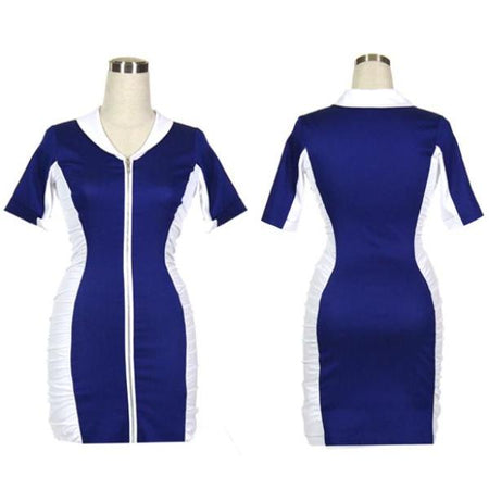 Women's Blue and White Ruched Golf Dress With Sleeves