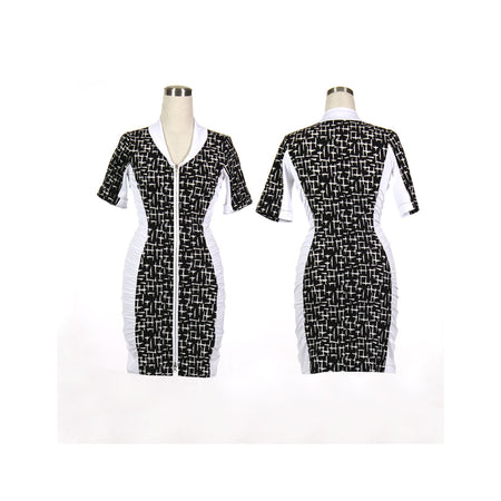 Women's Black Crosses and White Ruched Golf Dress With Sleeves