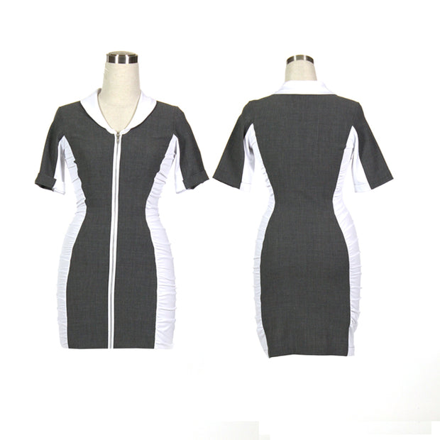Women's Grey and White Ruched Golf Dress With Sleeves