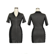 Women's Pinstripe and Black Ruched Golf Dress With Sleeves