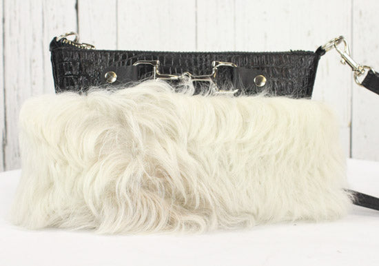 Fur Clutch With Zipper -Black and White