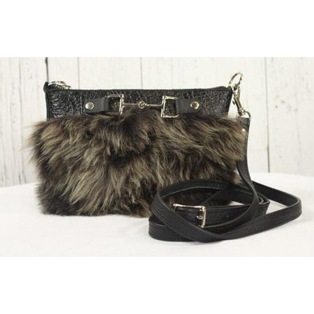 Fur Clutch With Zipper -Black/Brown