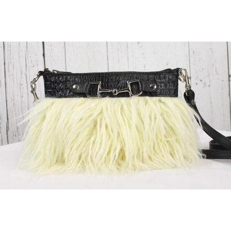 Fur Clutch With Zipper -Black/Cream
