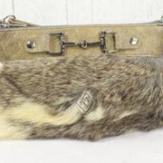 Fur Clutch With Zipper -Light Taupe