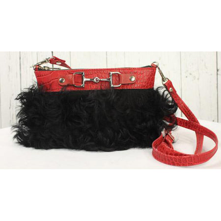 Fur Clutch With Zipper -Red and Black