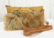 Fur Clutch With Zipper -Tan