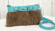 Fur Clutch With Zipper - Turquoise