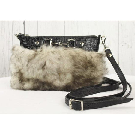 Fur Clutch With Zipper -Black/Grey