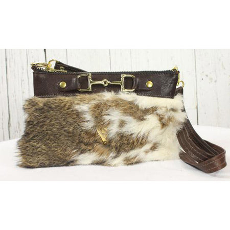 Fur Clutch With Zipper -Dark Brown and mixed