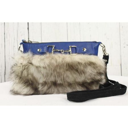 Fur Clutch With Zipper - Royal Blue