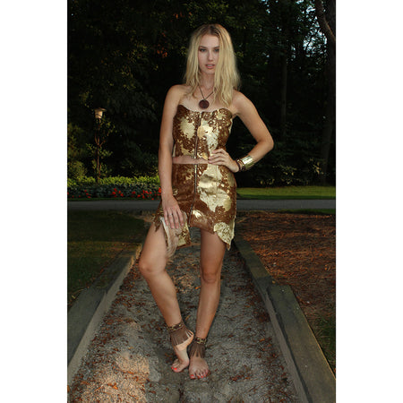 Gold and Brown Leather Bustier and Skirt