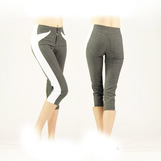 Women's Grey and White Golf Capris