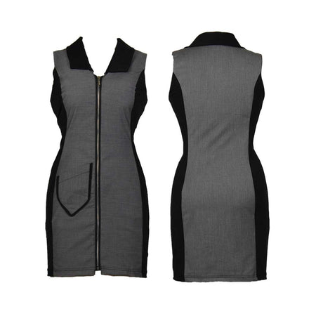 Women's Grey and Black Golf Sleeveless Dress