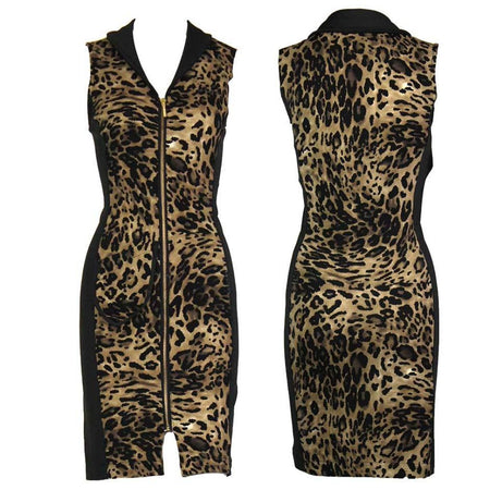 Women's Leopard and Black Sleeveless Golf Dress
