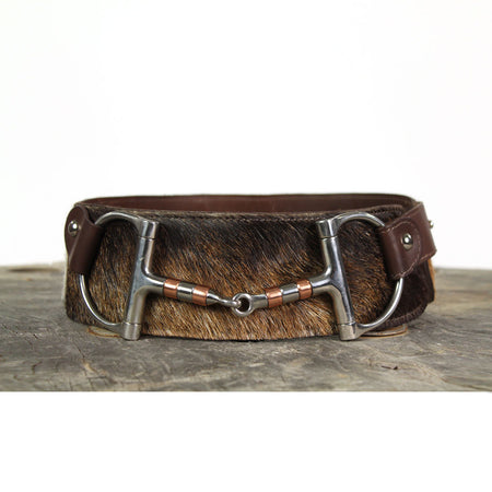 "3"" Wide Leather Belt - Brown Cowhide with Brass Horsebit"