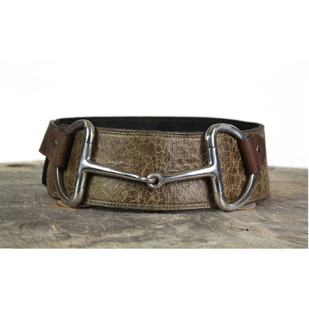 "3"" Wide Leather Belt - Speckled Brown"