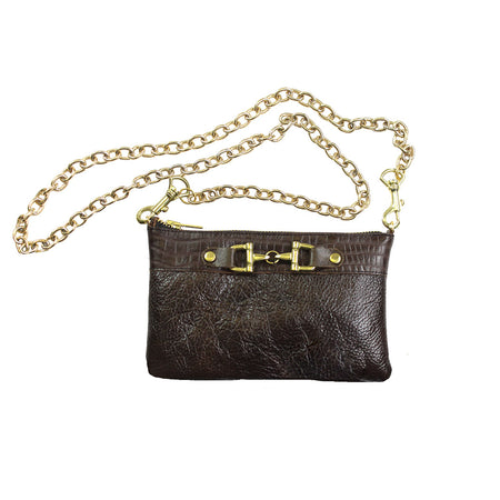 Leather Clutch With Zipper - Brown