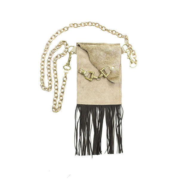Flap Clutch - Tan with Fringe
