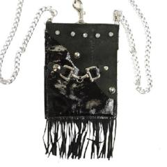 Flap Clutch - Black with Fringe