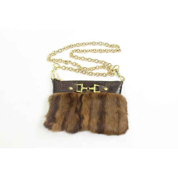 Fur Clutch With Zipper - Chocolate Brown