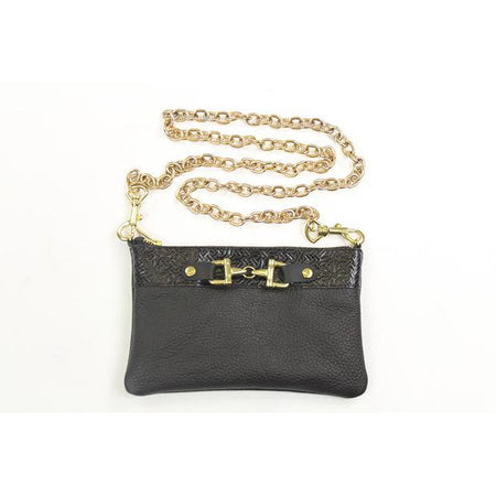 Leather Clutch With Zipper - Black