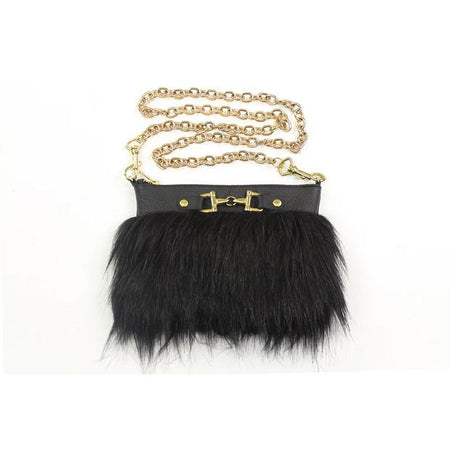 Fur Clutch With Zipper - Black/Gold