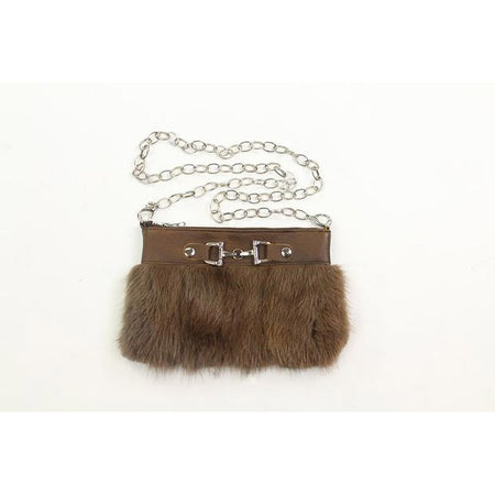 Fur Clutch With Zipper (Small)-Brown