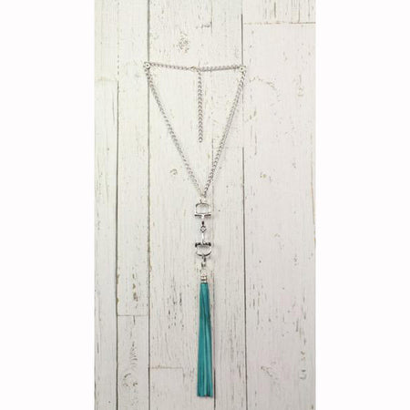 Diamond Back Turquoise Fringe Silver Necklace