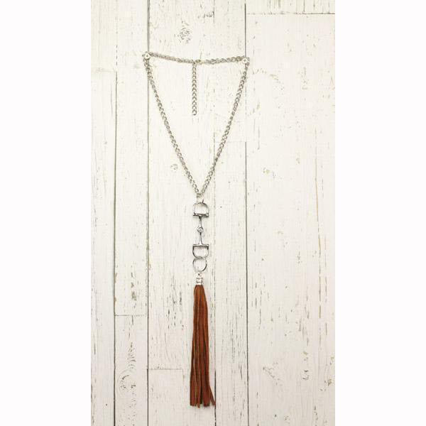 Diamond Back Dark Brown Fringe Silver Necklace