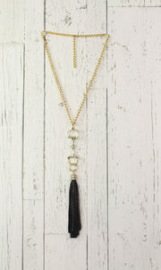 Diamond Back Black Fringe Gold Necklace
