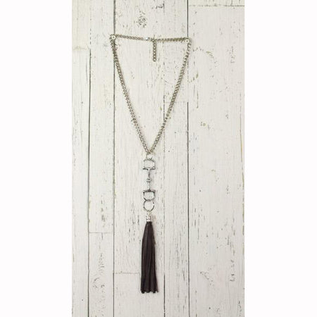 Diamond Back Black Fringe Silver Necklace