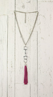 Diamond Back Pink Fringe Silver Necklace