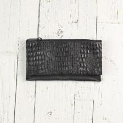 Belt-Crossbody-Phone Pouch- Black All Leather and Hidden snap lock