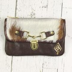 Belt-Crossbody-Phone Pouch - White/Brown Cowhide with Brown Leather