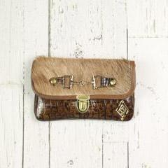 Belt-Crossbody-Phone Pouch - Croc with Tan Cowhide