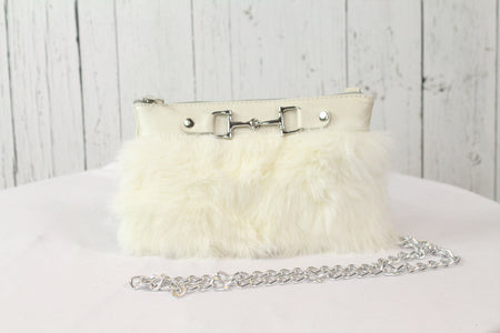 Fur Clutch With Zipper - White and White
