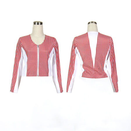 Women's Red Checkered Golf Jacket