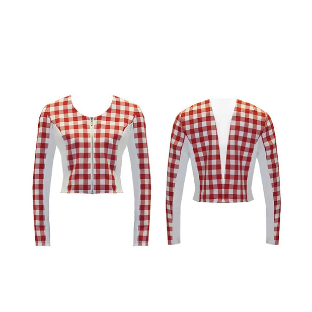 Women's Red Large Checkered Golf Jacket