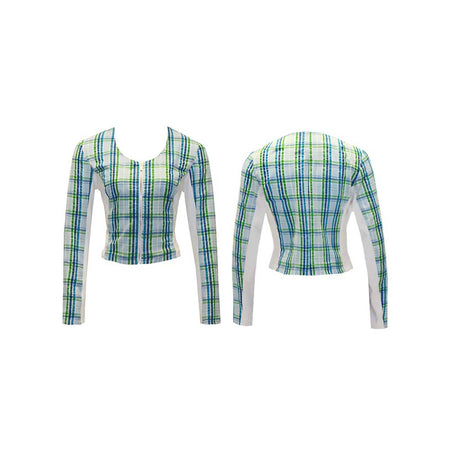 Women's Green Plaid Golf Jacket