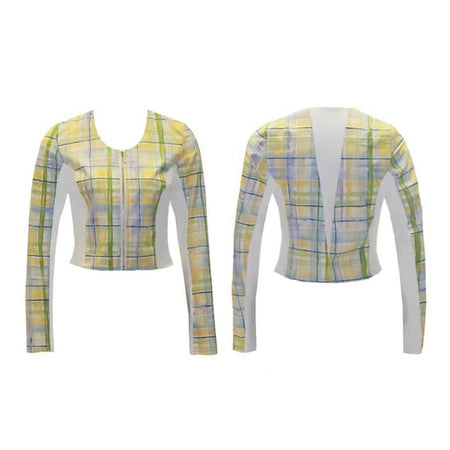 Women's Yellow Plaid Golf Jacket