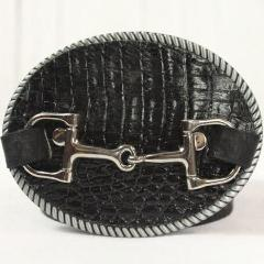 Black croc embossed belt buckle- Large silver horse bit