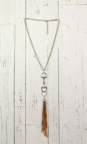 Diamond Back Tan Fringe Silver Necklace
