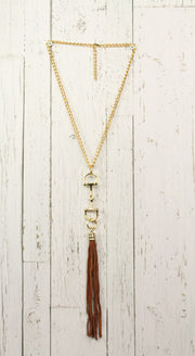 Diamond Back Dark Brown Fringe Gold Necklace