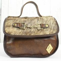 Mini Saddle Bag - Light Brown with Cowhide