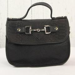 Mini Saddle Bag - All Black Embossed Leather with Sliver