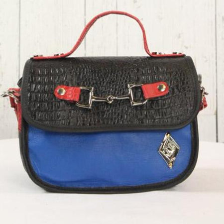 Mini Saddle Bag - Black with Royal Blue and Red