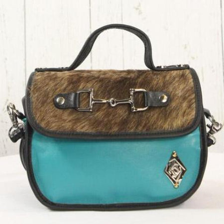 Mini Saddle Bag - Turquoise with black
