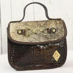 Mini Saddle Bag - Brown Embossed with Cowhide